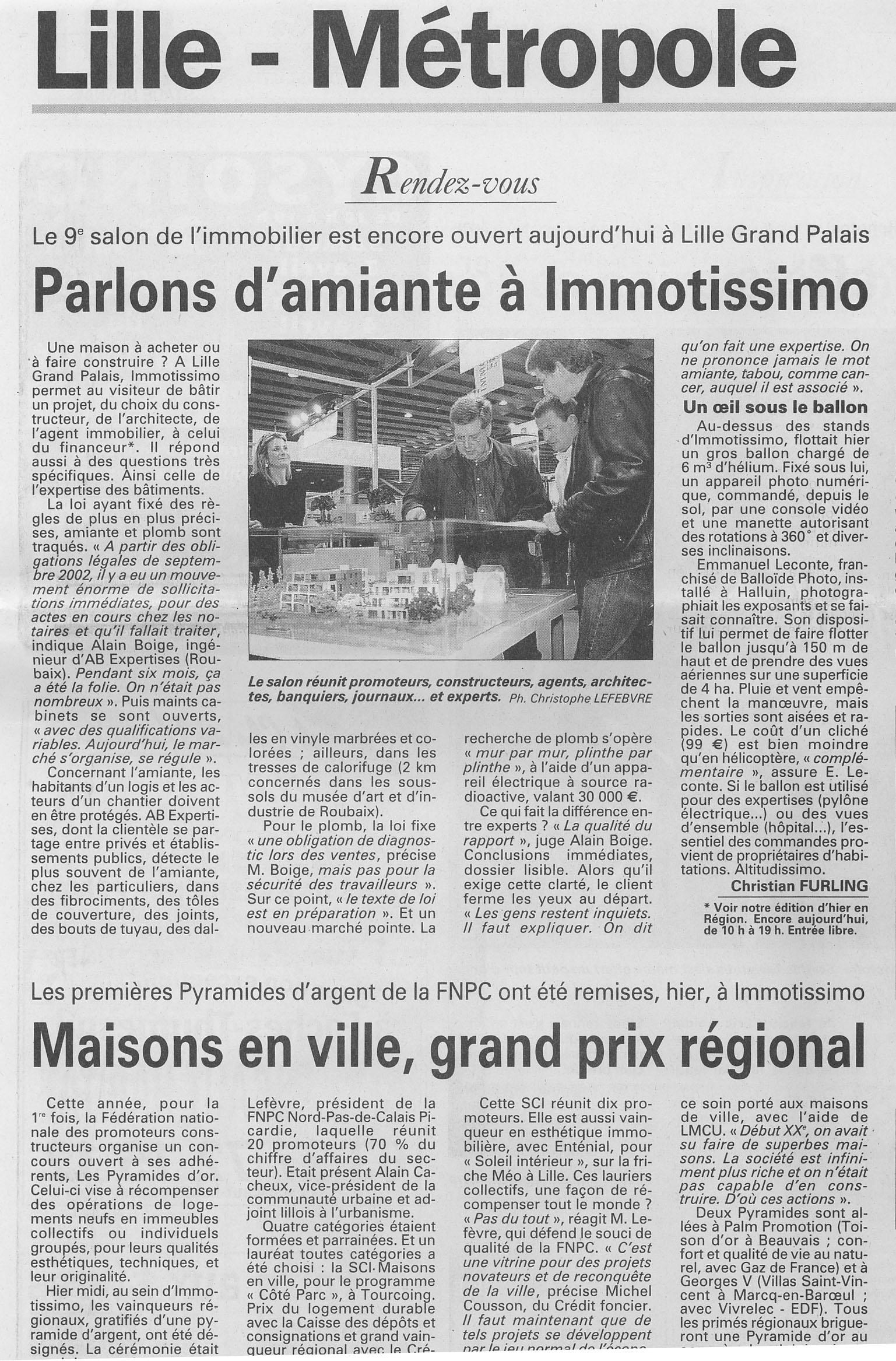 Article de presse sur le Salon Immotissimo
